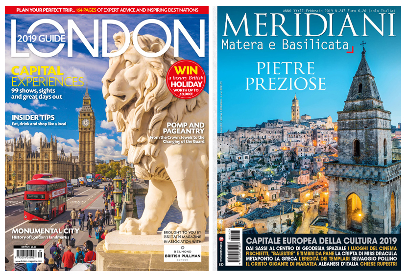 Britain Magazine, London 2019 guide, Cover Ph. Olimpio Fantuz/Simephoto | Matera, Cover Meridiani, Ph. Arcangelo Piai/simephoto